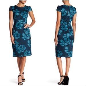 Betsey Johnson Teal Floral Sheath Dress Sz 2